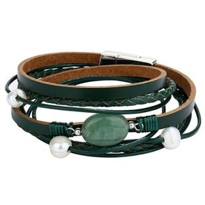 NITRO BETTY Multi Layer Leather Crystal Bracelet
